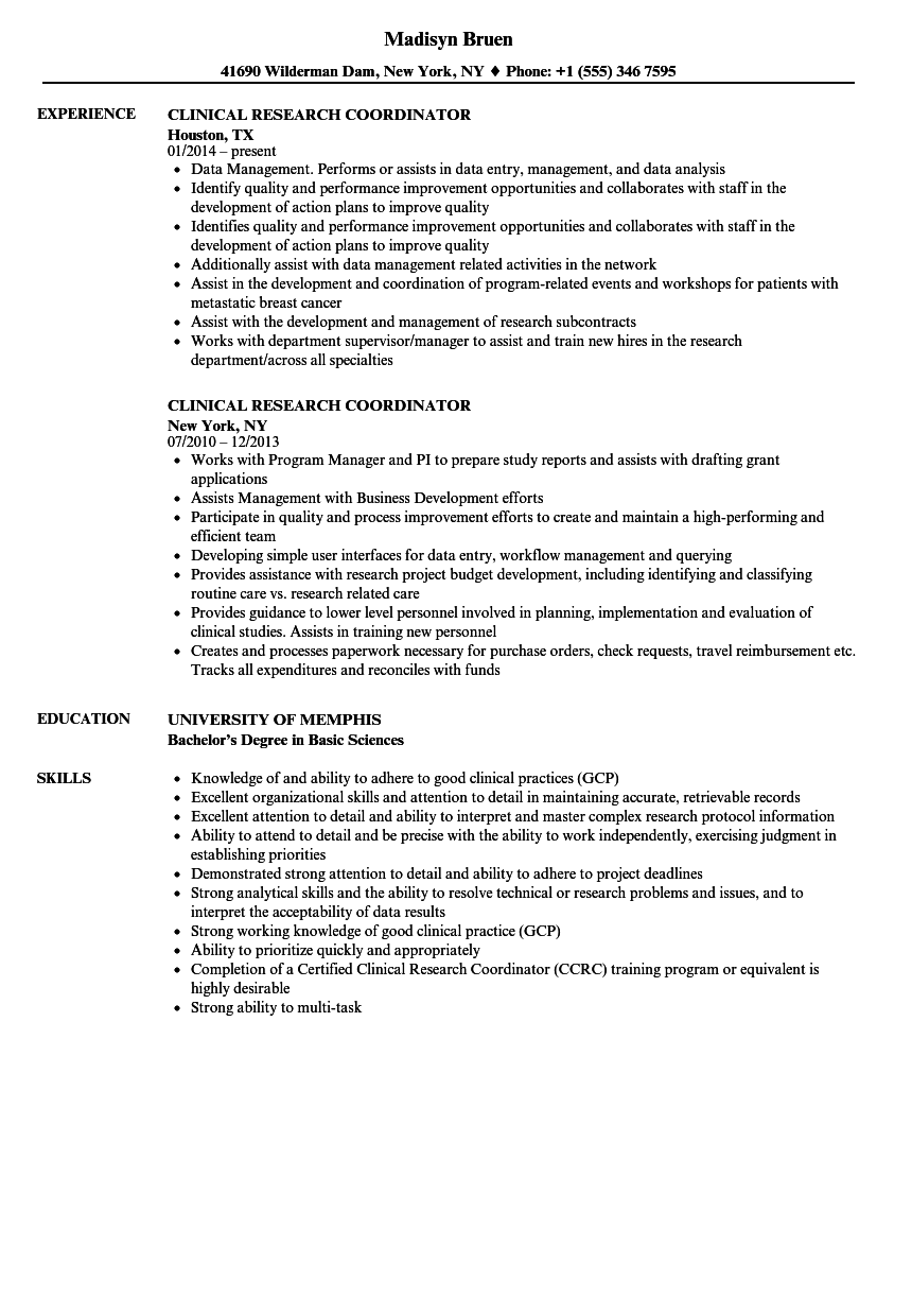 Clinical Research Coordinator Resume Samples  Velvet Jobs
