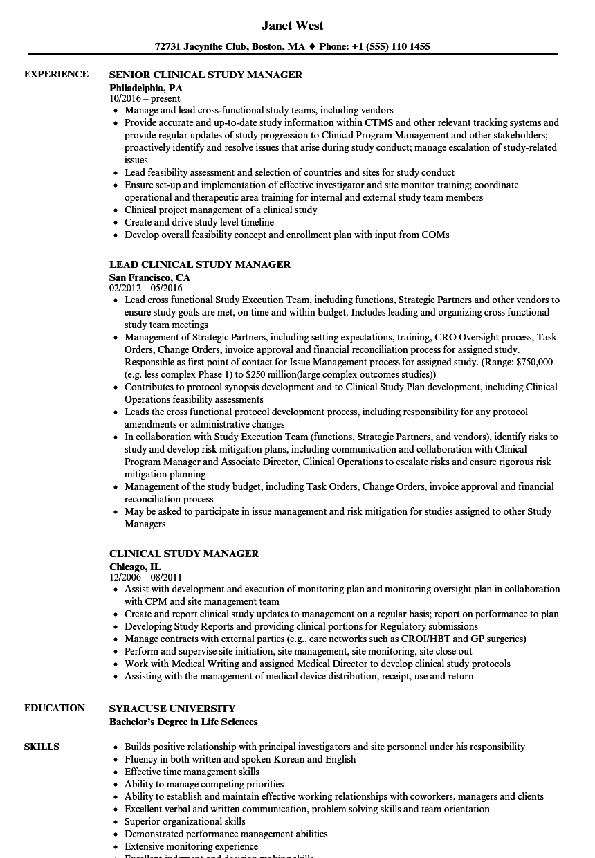 Clinical Study Manager Cover Letter