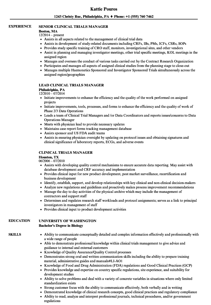 Clinical Trials Manager Resume Samples  Velvet Jobs