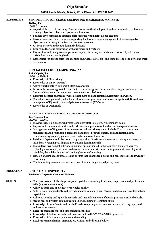 sample resume for cloud testing