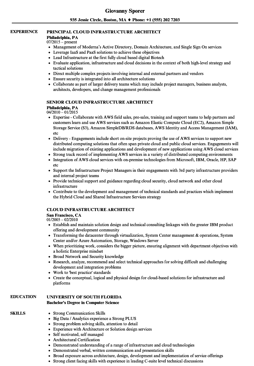 Cloud Infrastructure Architect Resume Samples Velvet Jobs