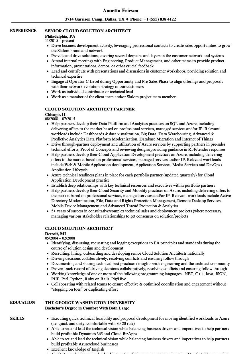 resume cloud technologies sample