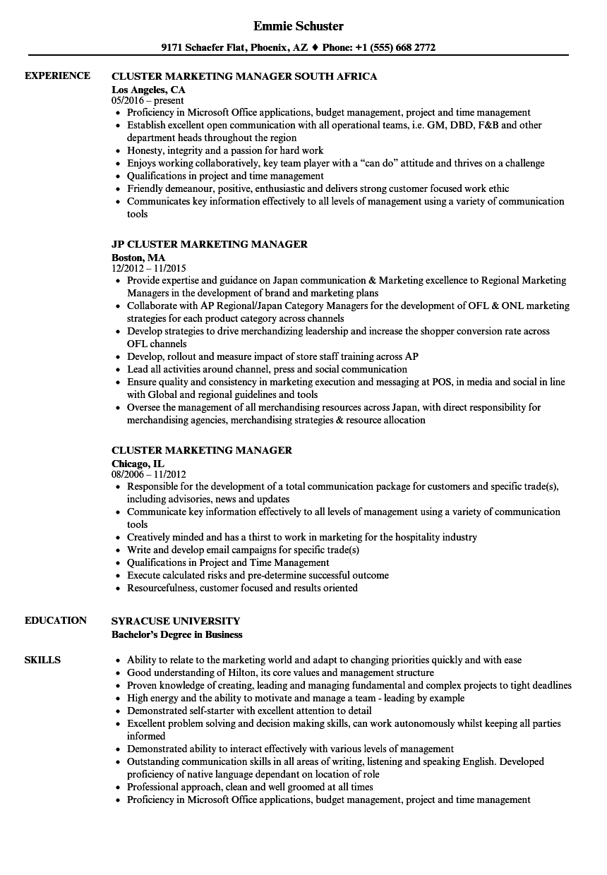 cluster manager resume sample