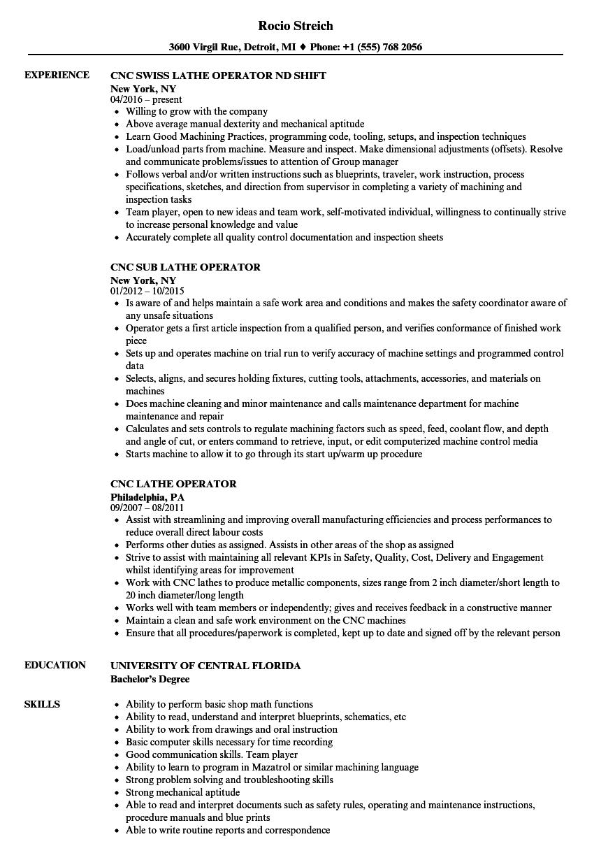 CNC Lathe Operator Resume Samples Velvet Jobs