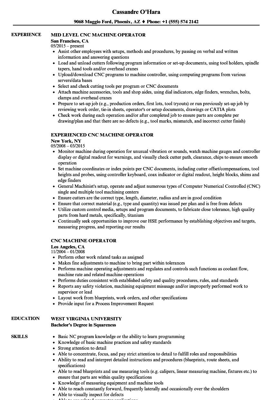 cnc milling operator sample resume