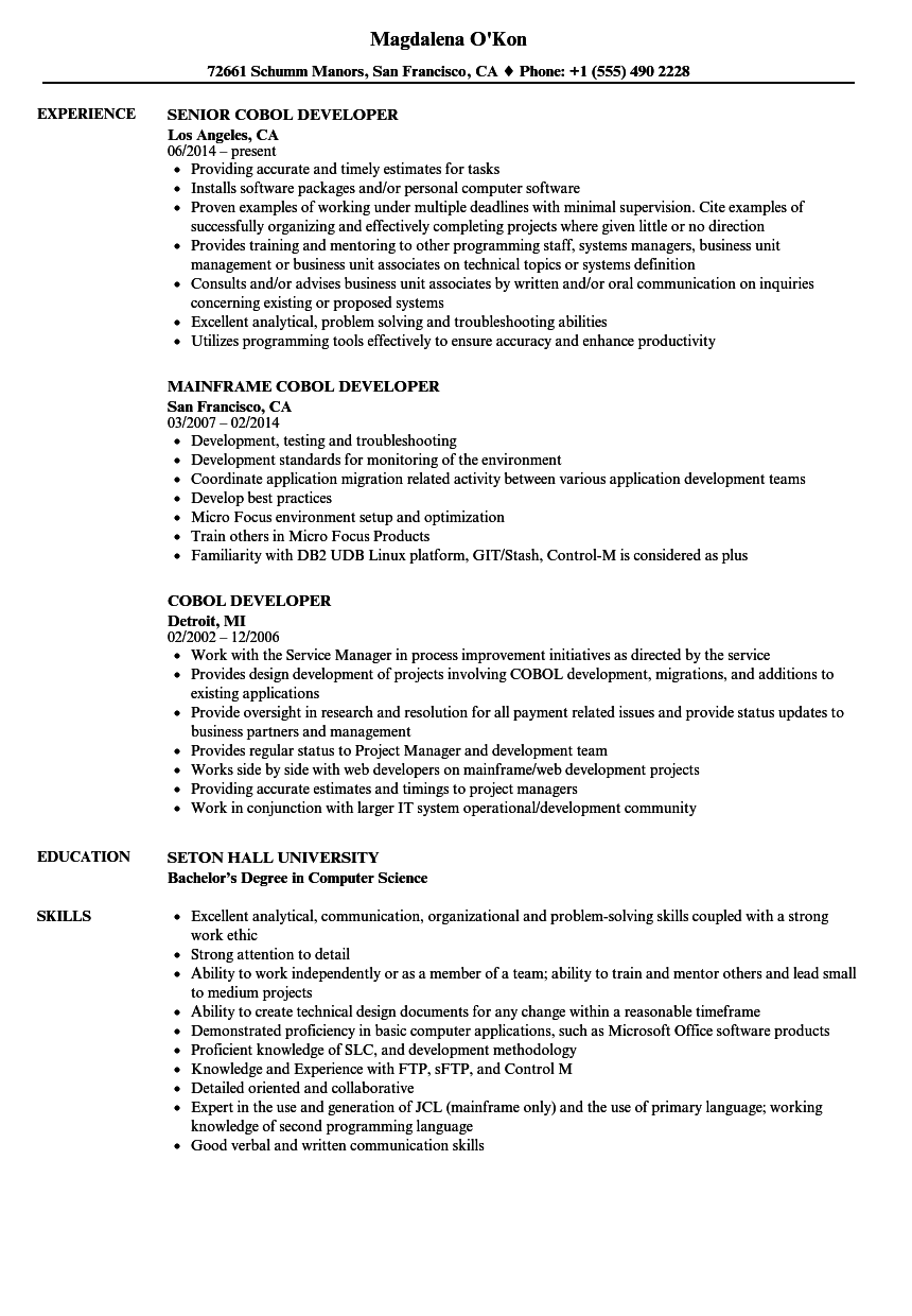 Cobol Developer Resume Samples Velvet Jobs