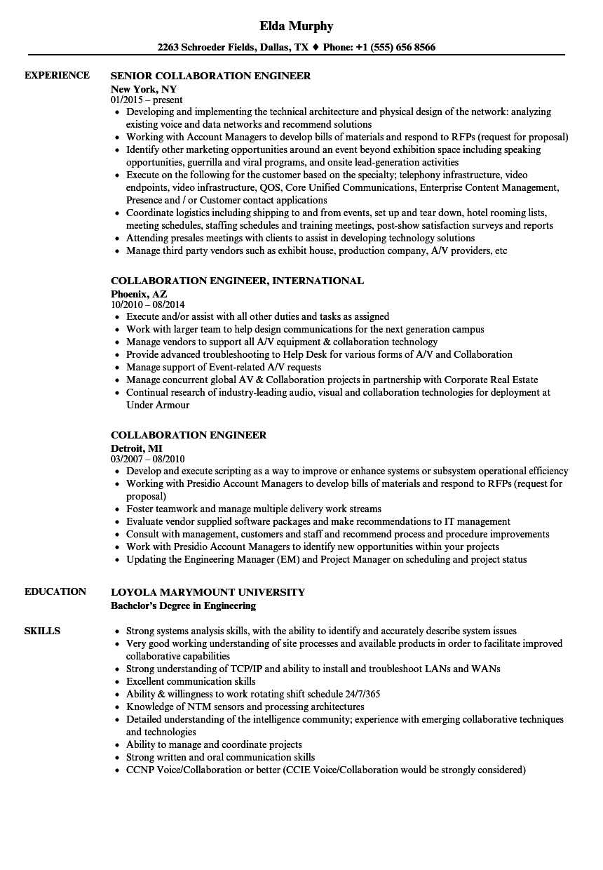 resume collaboration examples