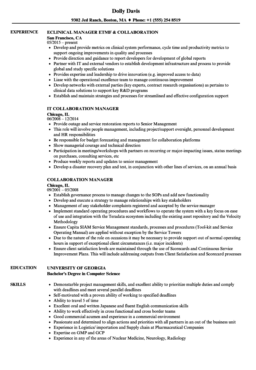 Collaboration Manager Resume Samples Velvet Jobs