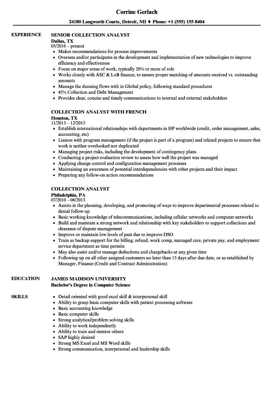 Collection Analyst Resume Samples Velvet Jobs