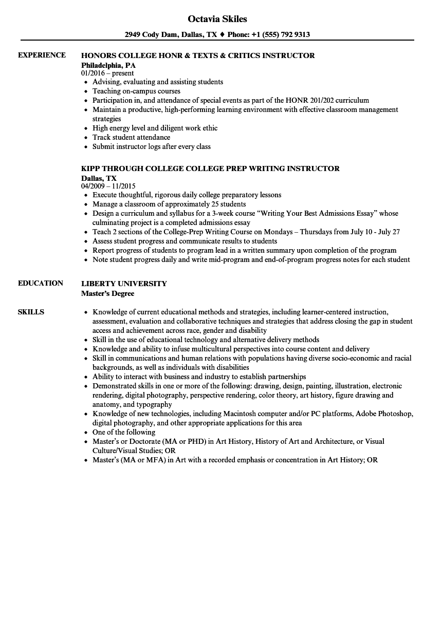 College Instructor Resume Samples  Velvet Jobs