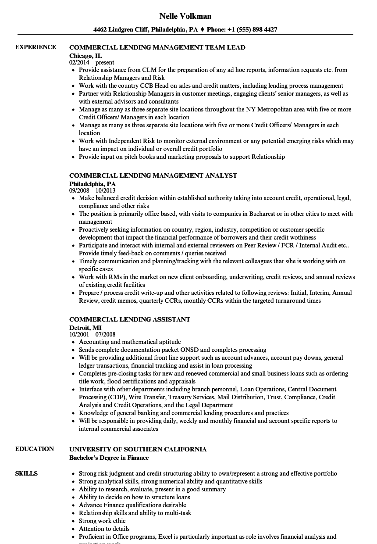 sample resume for commercial banking