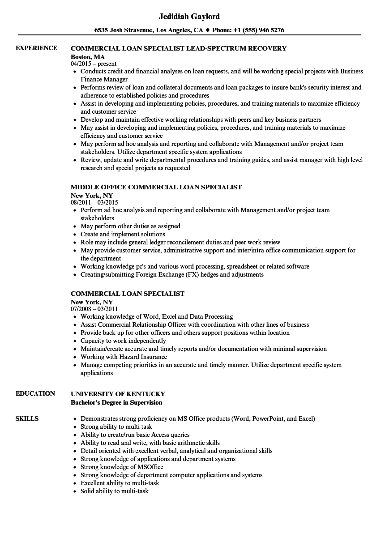 loan specialist resume