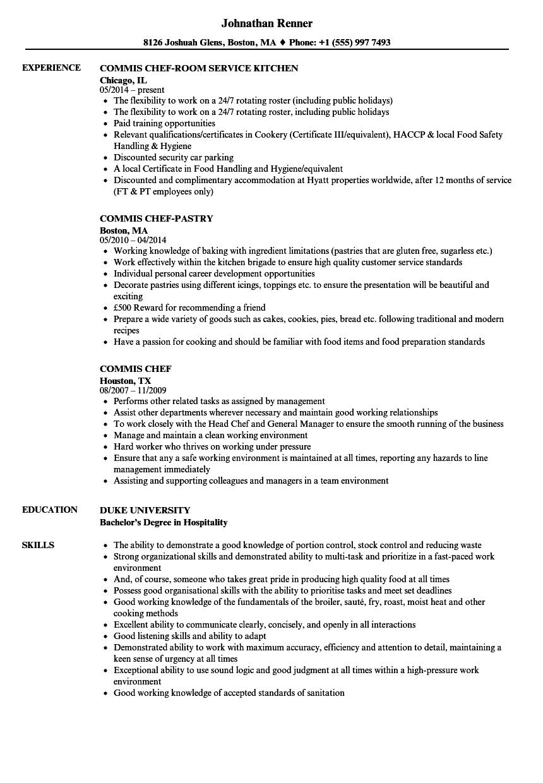 commis 2 resume sample
