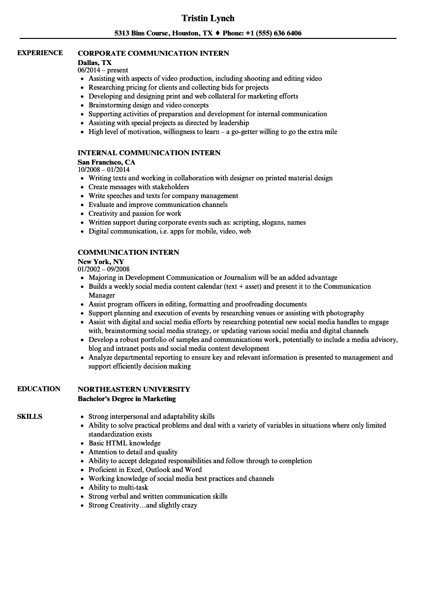Communication Intern Resume Samples Velvet Jobs