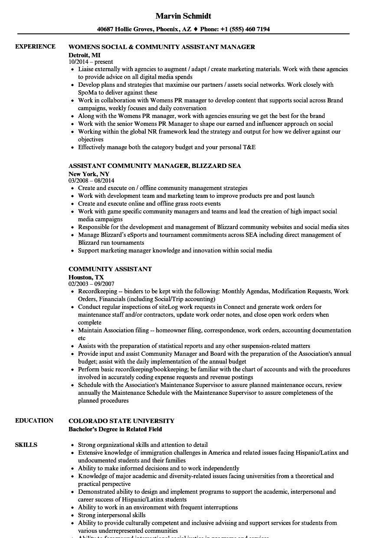 Community Assistant Resume Samples  Velvet Jobs