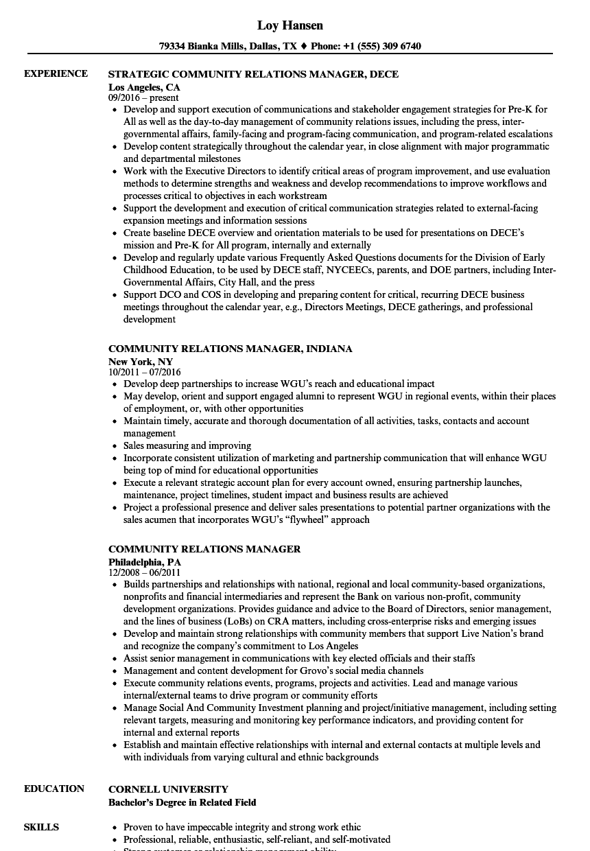 community relations coordinator resume sample