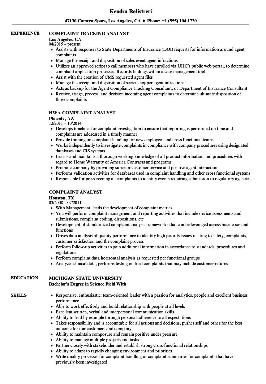 Complaint Analyst Resume Samples Velvet Jobs