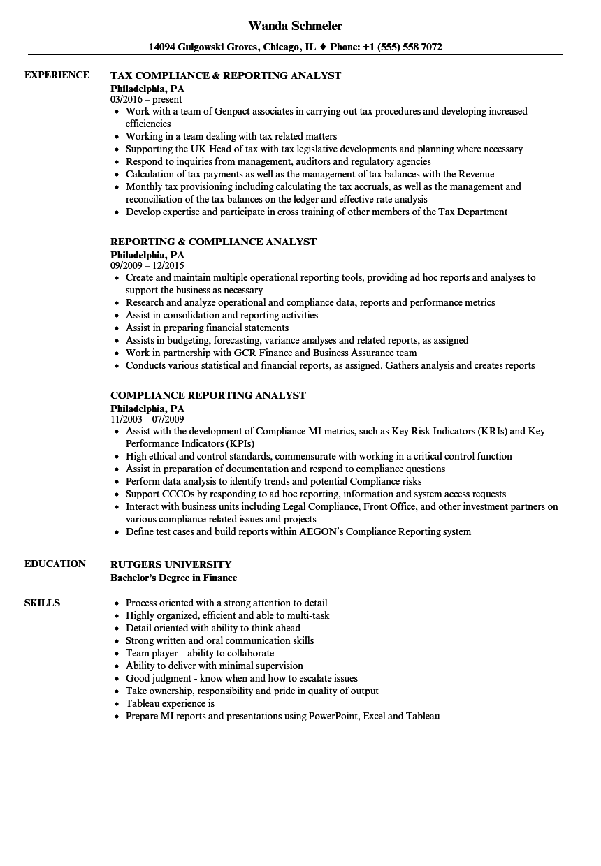 Compliance Reporting Analyst Resume Samples Velvet Jobs