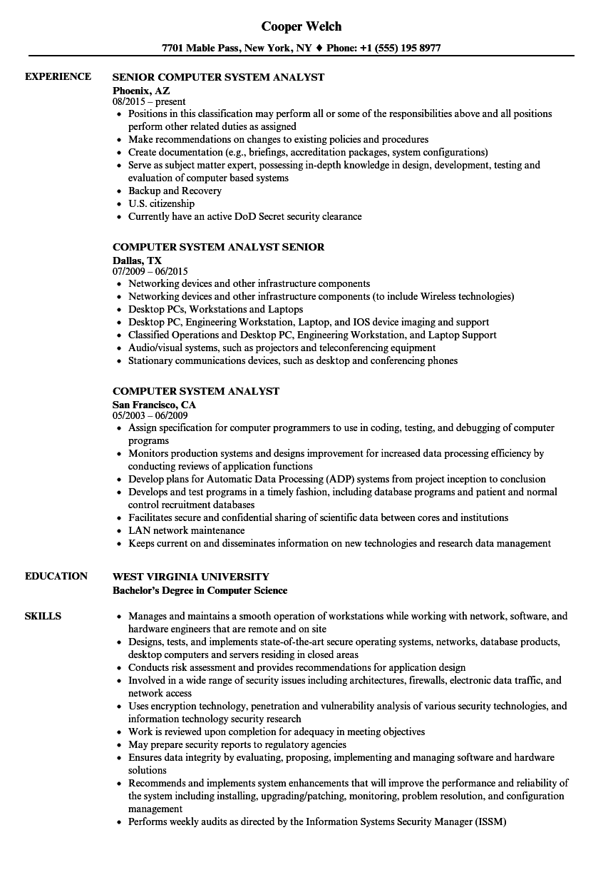 Computer System Analyst Resume Samples Velvet Jobs