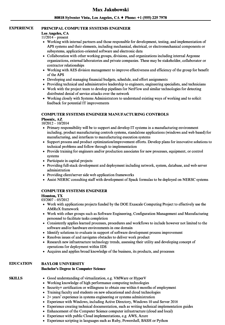computer job resume sample