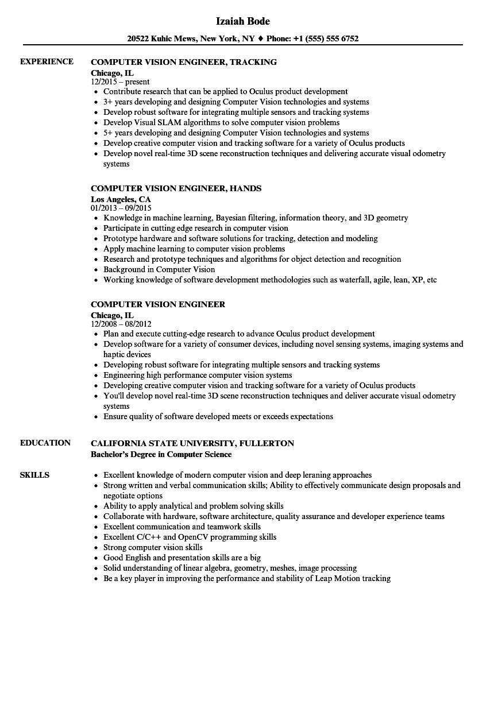 Computer Vision Engineer Resume Samples Velvet Jobs