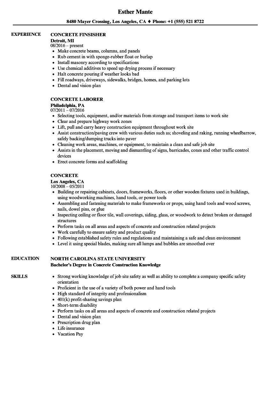concrete superintendent resume example