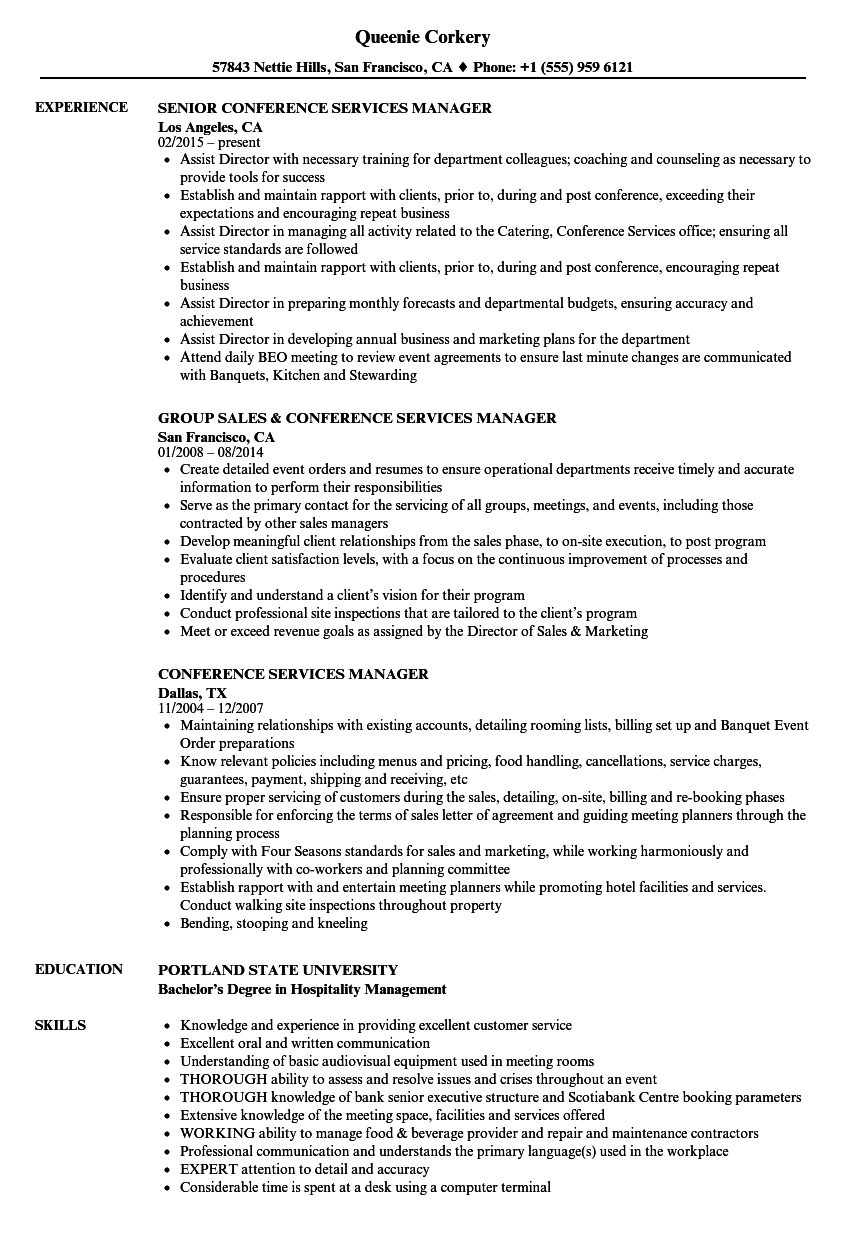 Conference Service Manager Cover Letter