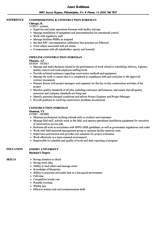 Related Job Titles. Foreman Resume Sample