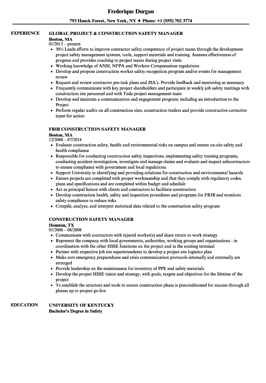 Construction Safety Manager Resume Samples Velvet Jobs
