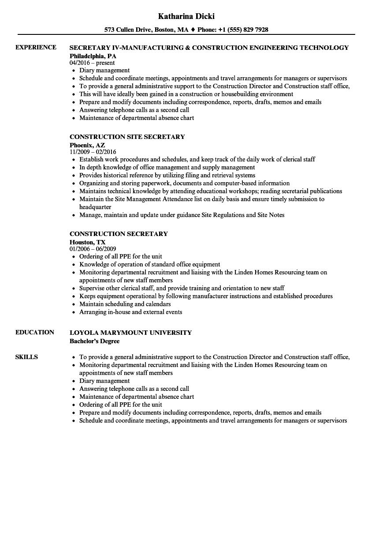 construction secretary resume sample