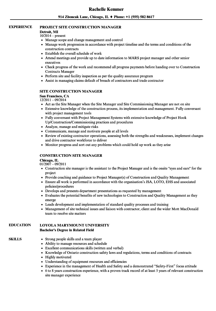 Construction Site Manager Resume Samples Velvet Jobs