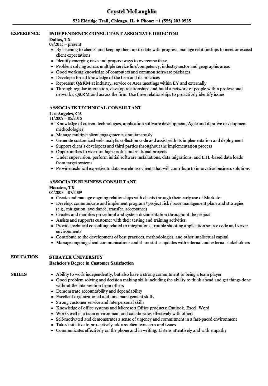 resume sample for associate development job
