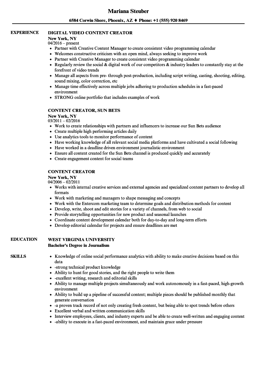 Content Creator Resume Samples Velvet Jobs