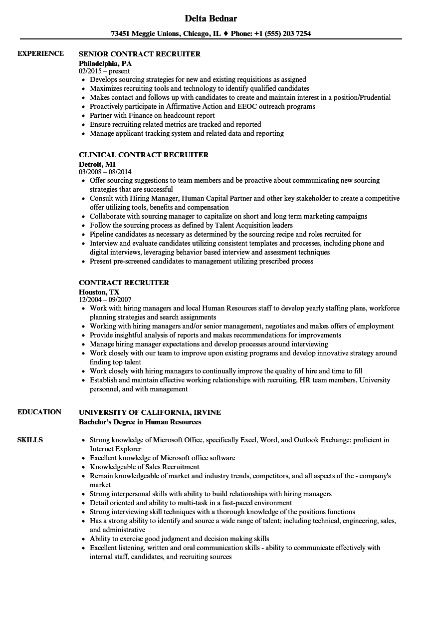 recruiting resume samples for contract
