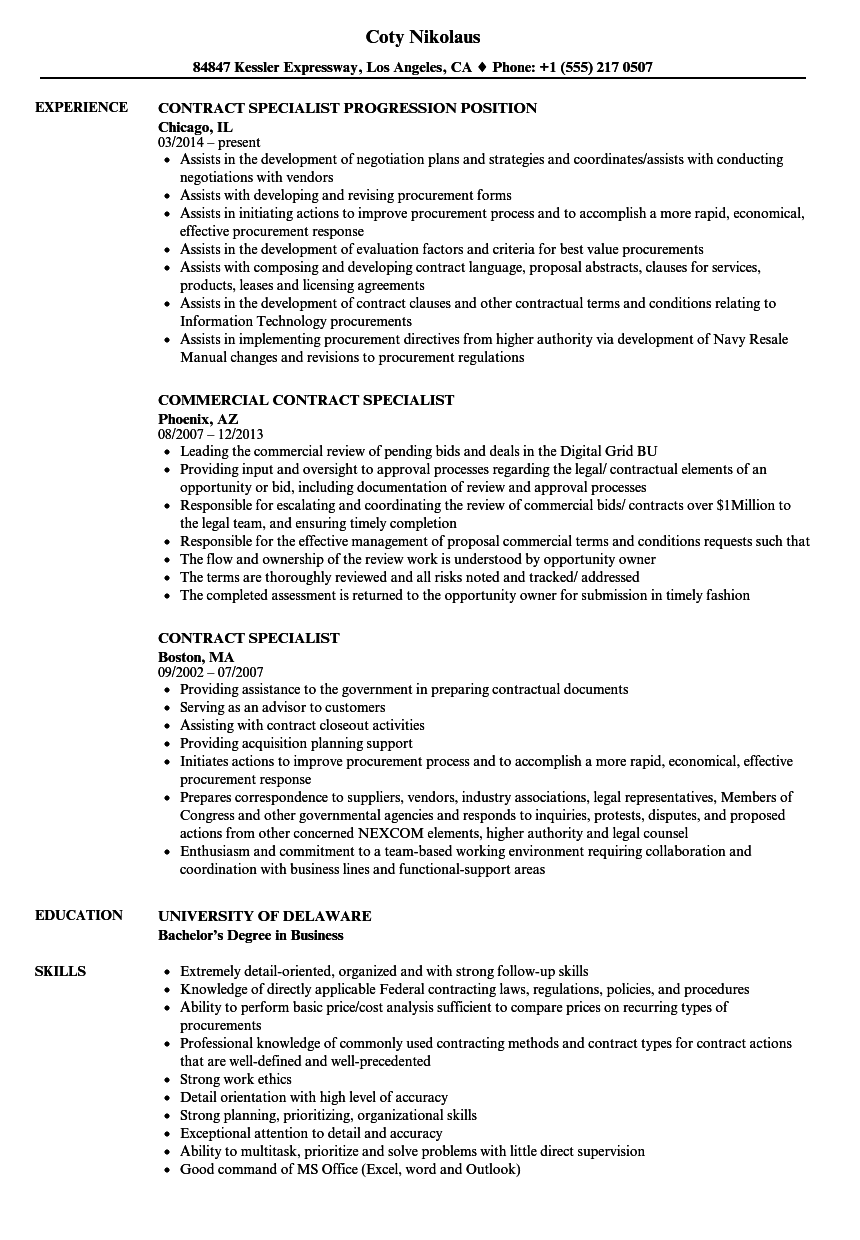 sample resume for senior contract specialist