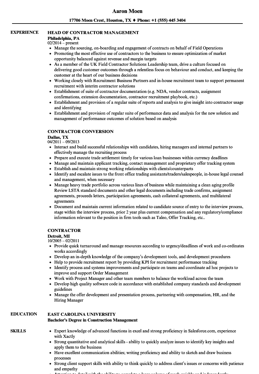 sample resume for independent construction contractor
