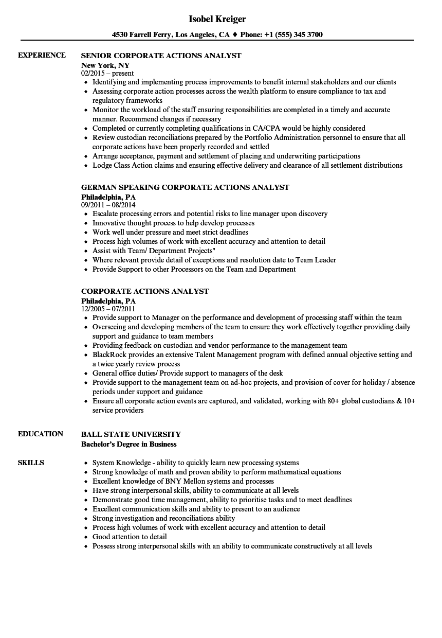 Corporate Actions Analyst Resume Samples Velvet Jobs