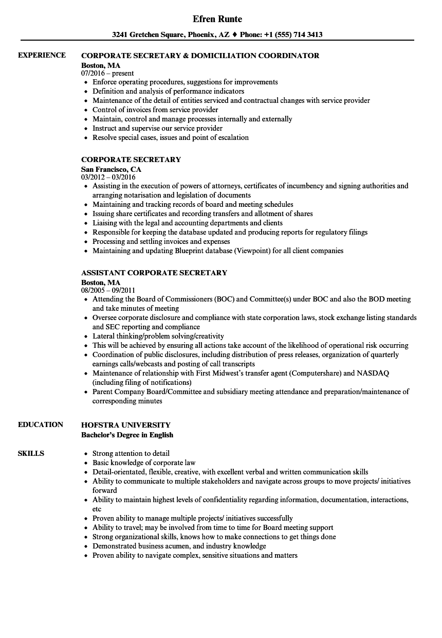 Sample Resume For Secretary Of The Company