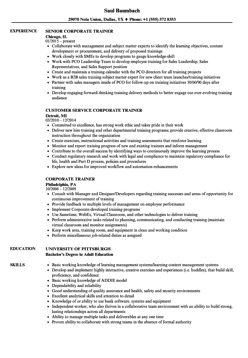 resume examples for corporate trainer