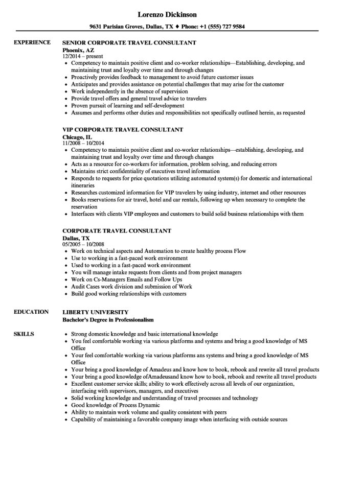 Corporate Travel Consultant Resume Samples Velvet Jobs Agent Example