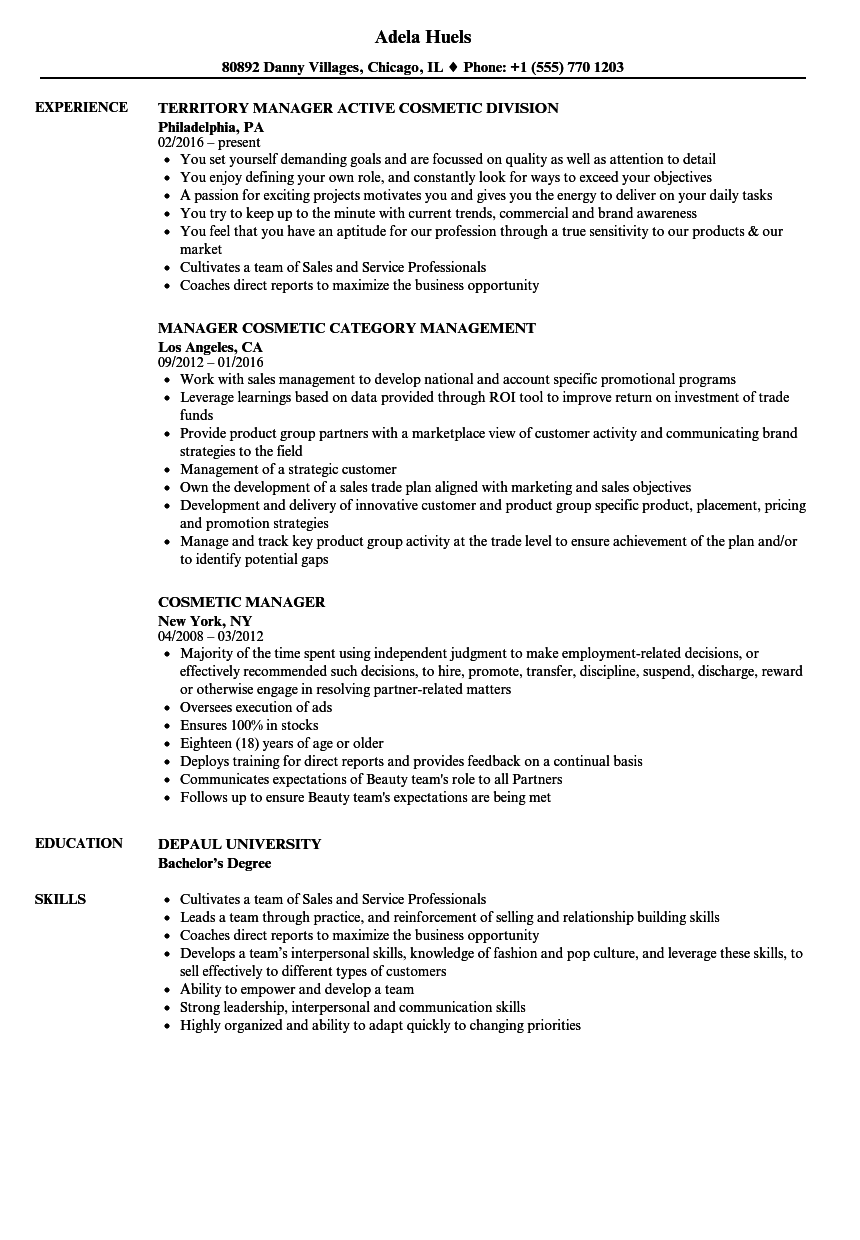 Cosmetic Resume Examples Resume Ideas