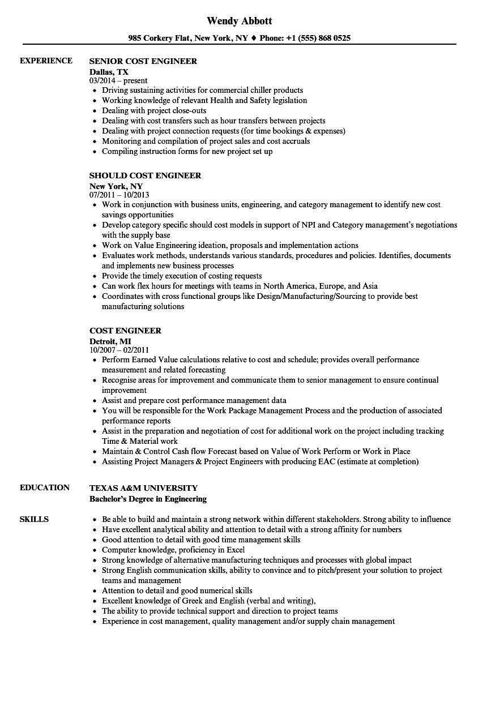 product costing engineer resume sample
