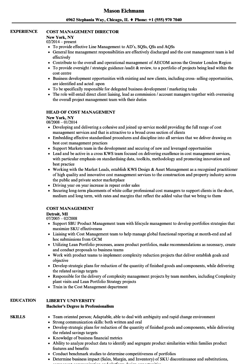 Cost Management Resume Samples Velvet Jobs