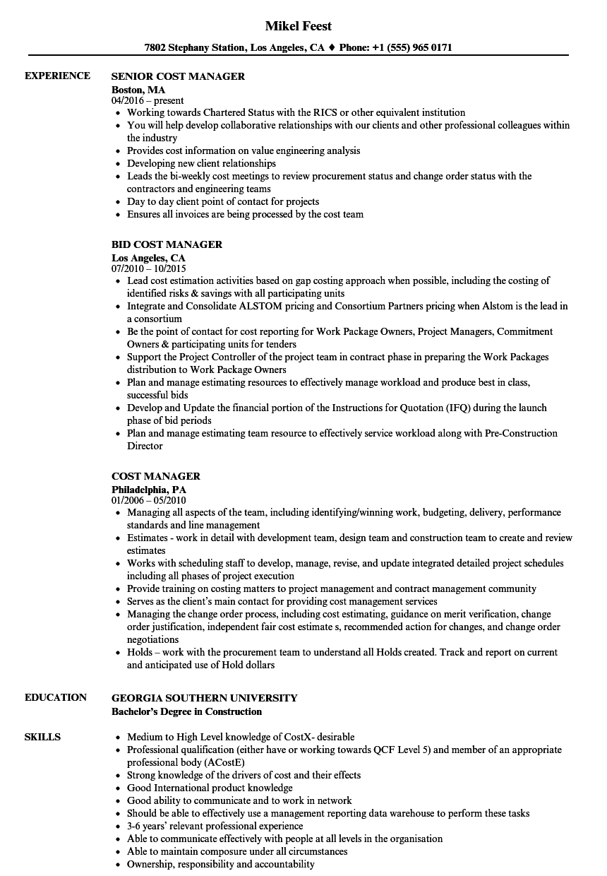 Cost Manager Resume Samples Velvet Jobs