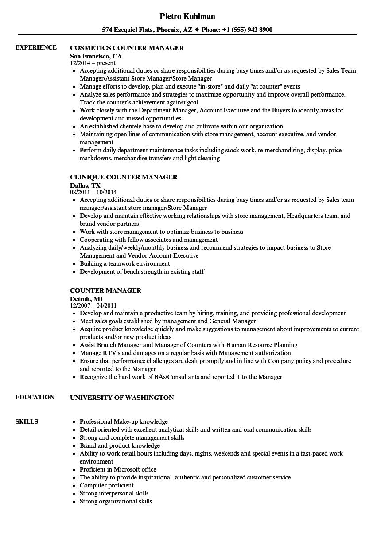 Counter Manager Resume Samples Velvet Jobs