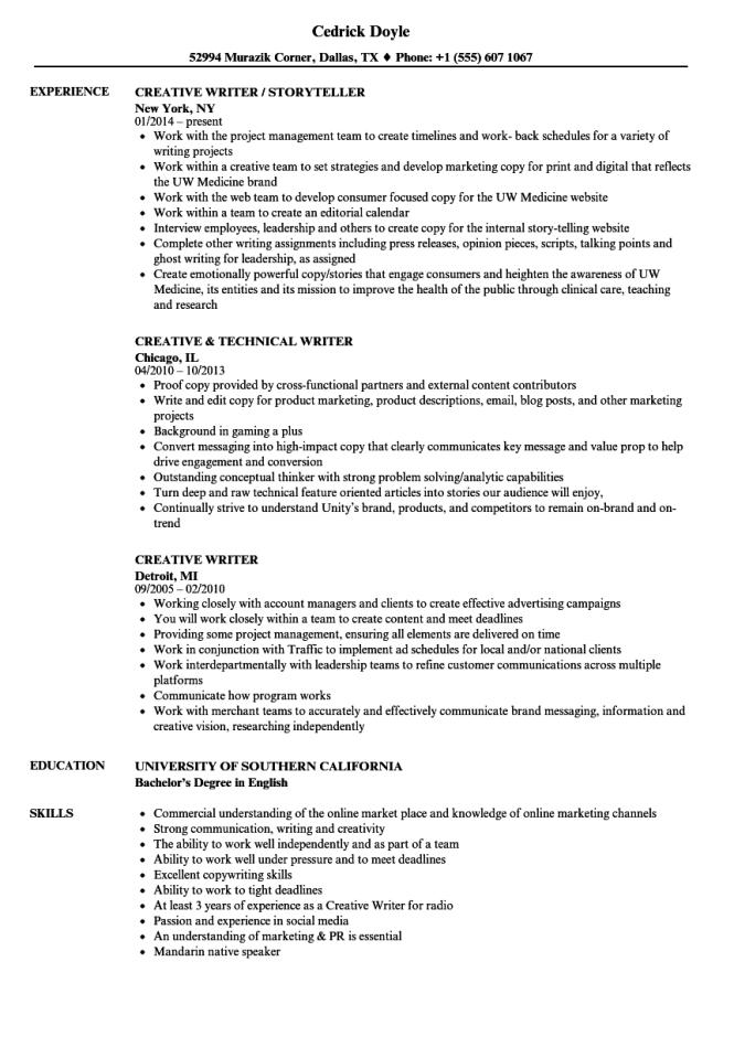 writer resume  resume sample