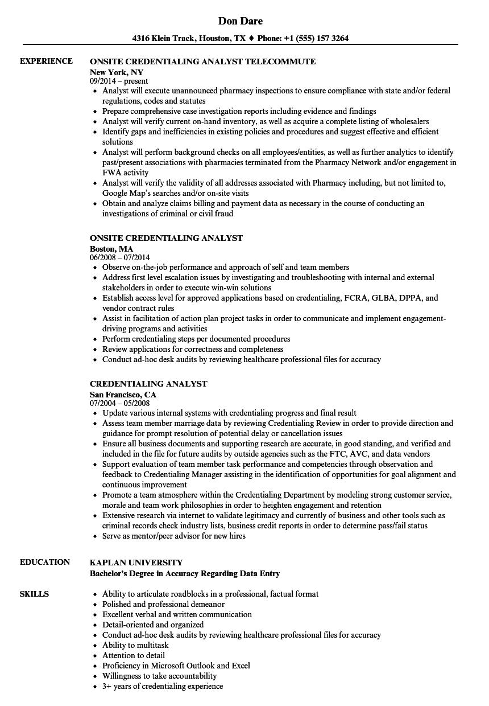 Credentialing Analyst Resume Samples Velvet Jobs