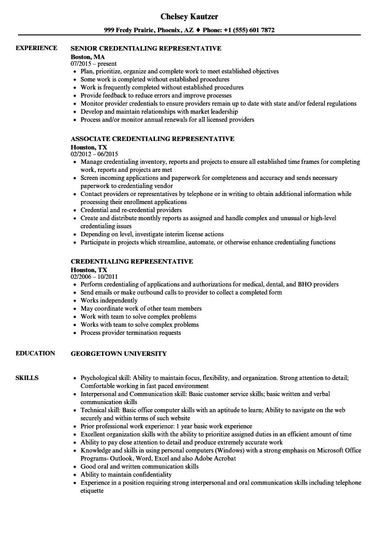 credentialing coordinator sample resume