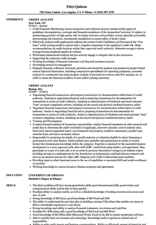 Credit Analyst Resume Samples Velvet Jobs