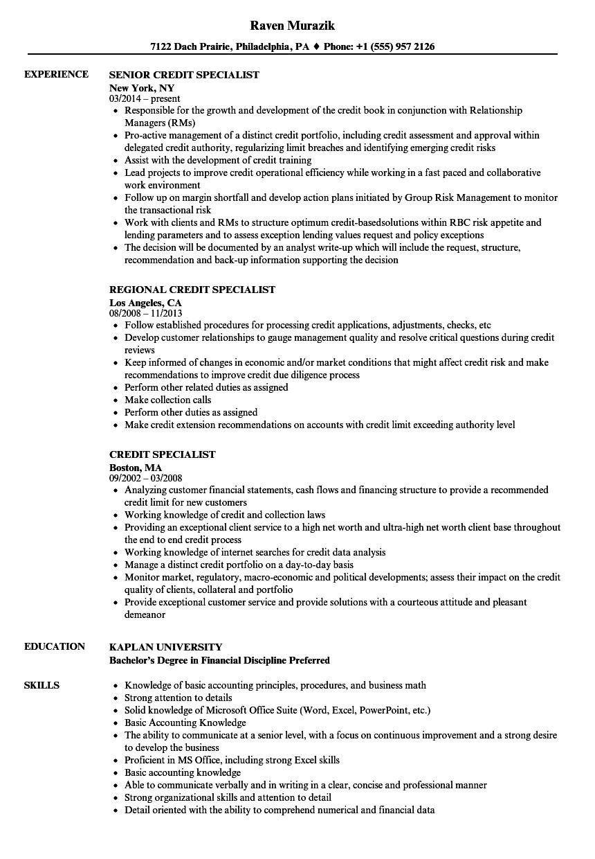 Credit Specialist Resume Samples Velvet Jobs